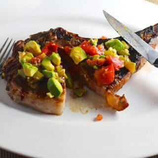 grilled ribeye with hatch chile salsa from Favorite Grilling Recipes roundup.
