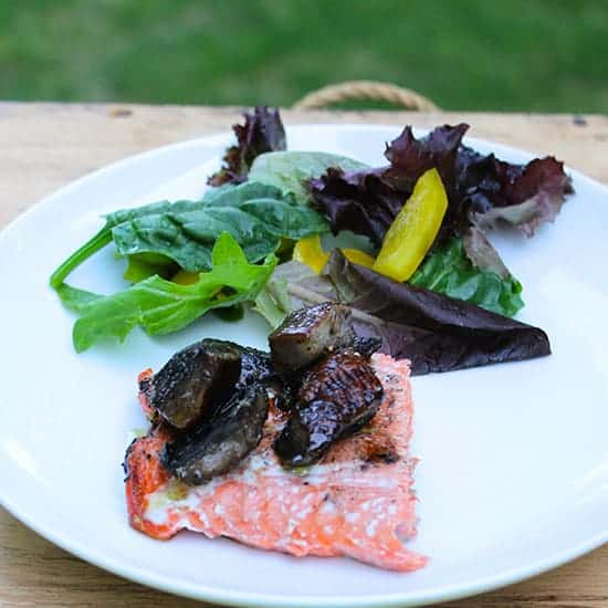 Grilled Salmon with Portobello Mushrooms from Favorite Grilling Recipes roundup.