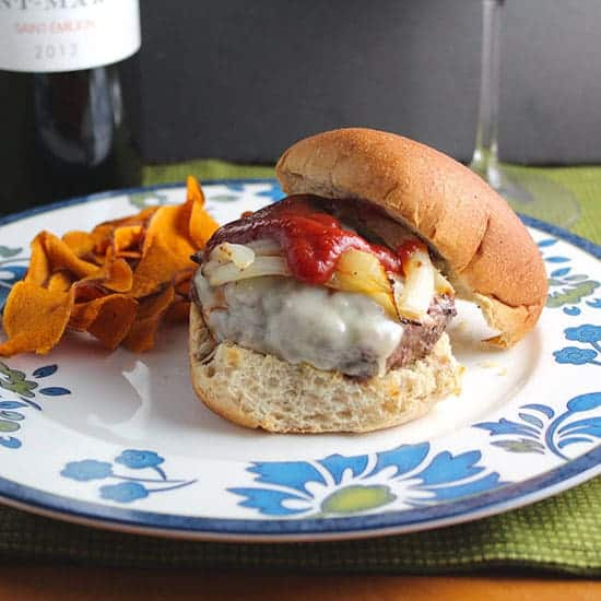 Gruyere Burger served with a Bordeaux from Cooking Chat favorite grilling recipes.