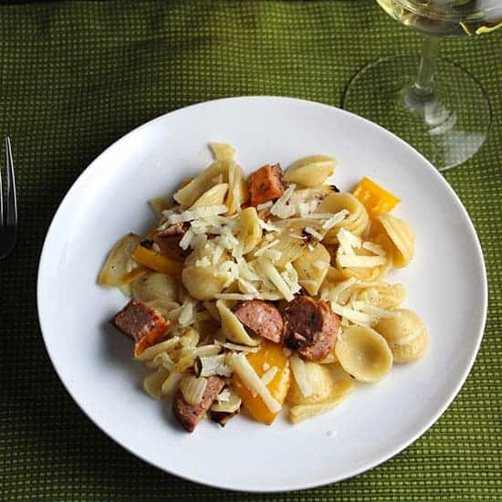 Orecchiette with Grilled Sausage.