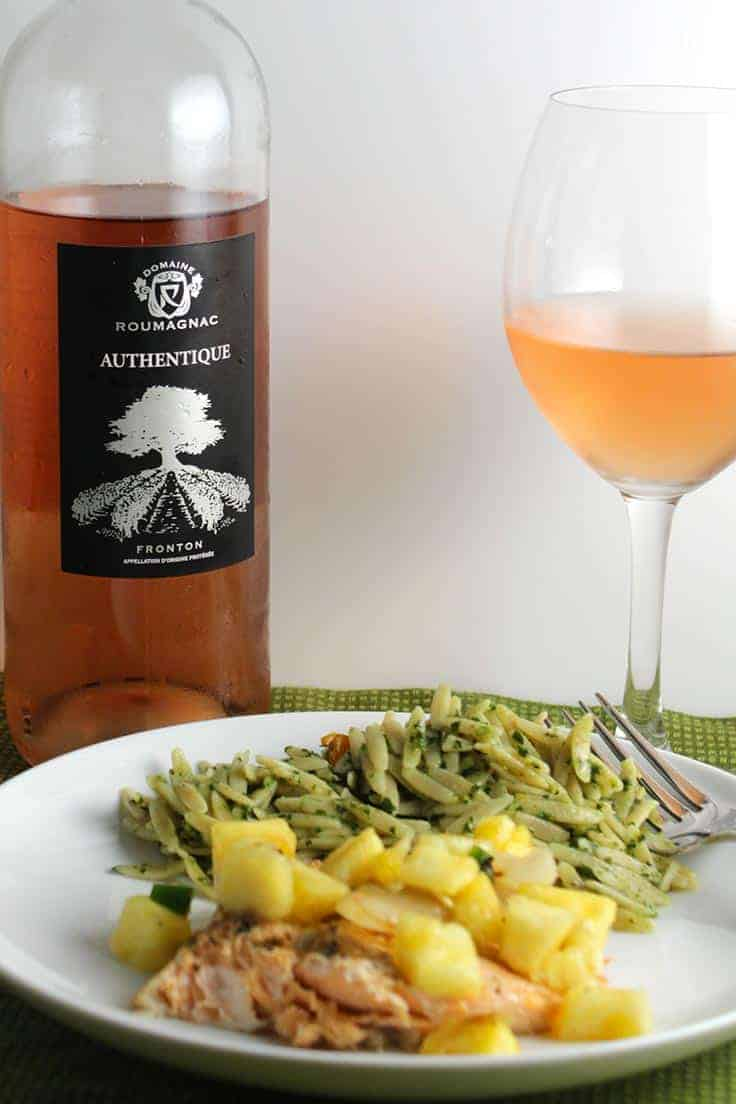 Domaine Roumagnac Authentique is a tasty rosé wine. Pairs nicely with grilled arctic char and pineapple salsa.