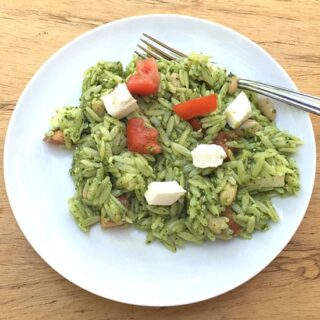 Caprese Orzo Salad with Pesto