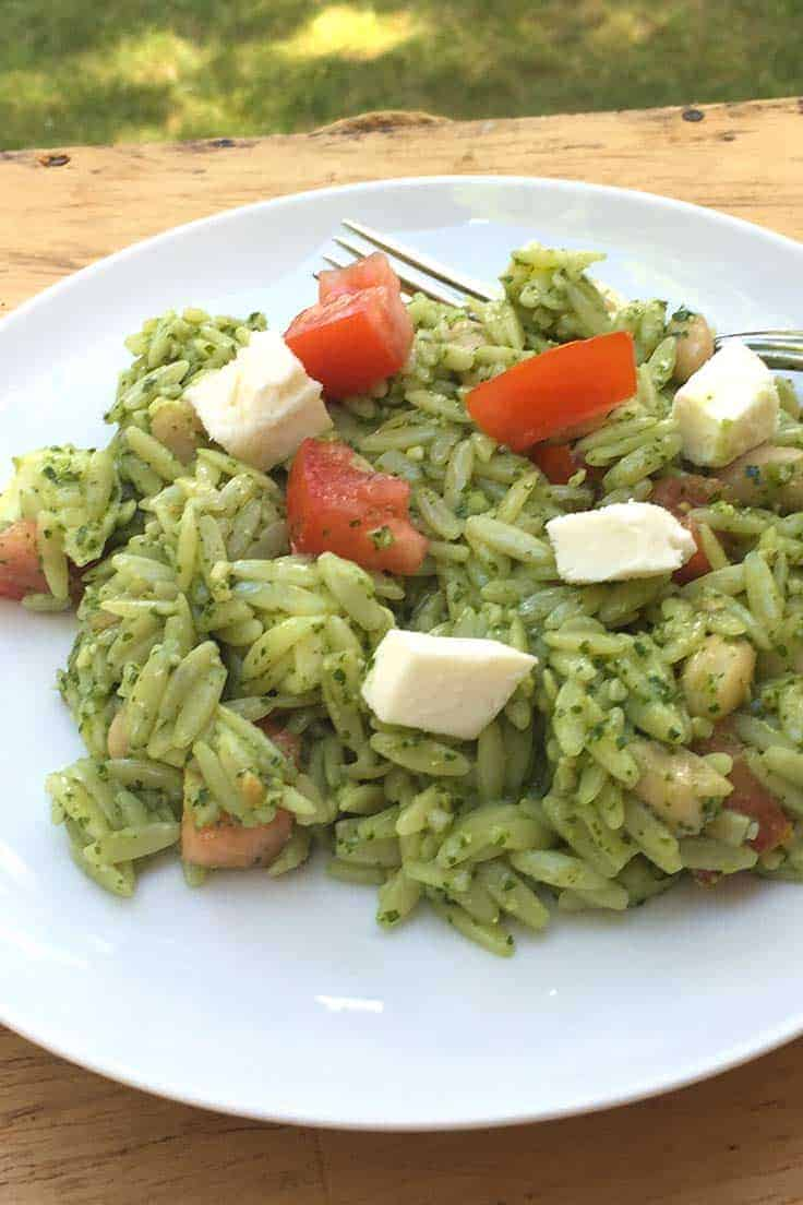Caprese Orzo Salad with Pesto combines tomatoes, fresh mozzarella, and pesto in a pasta salad recipe that is great to bring to cookouts or picnics.