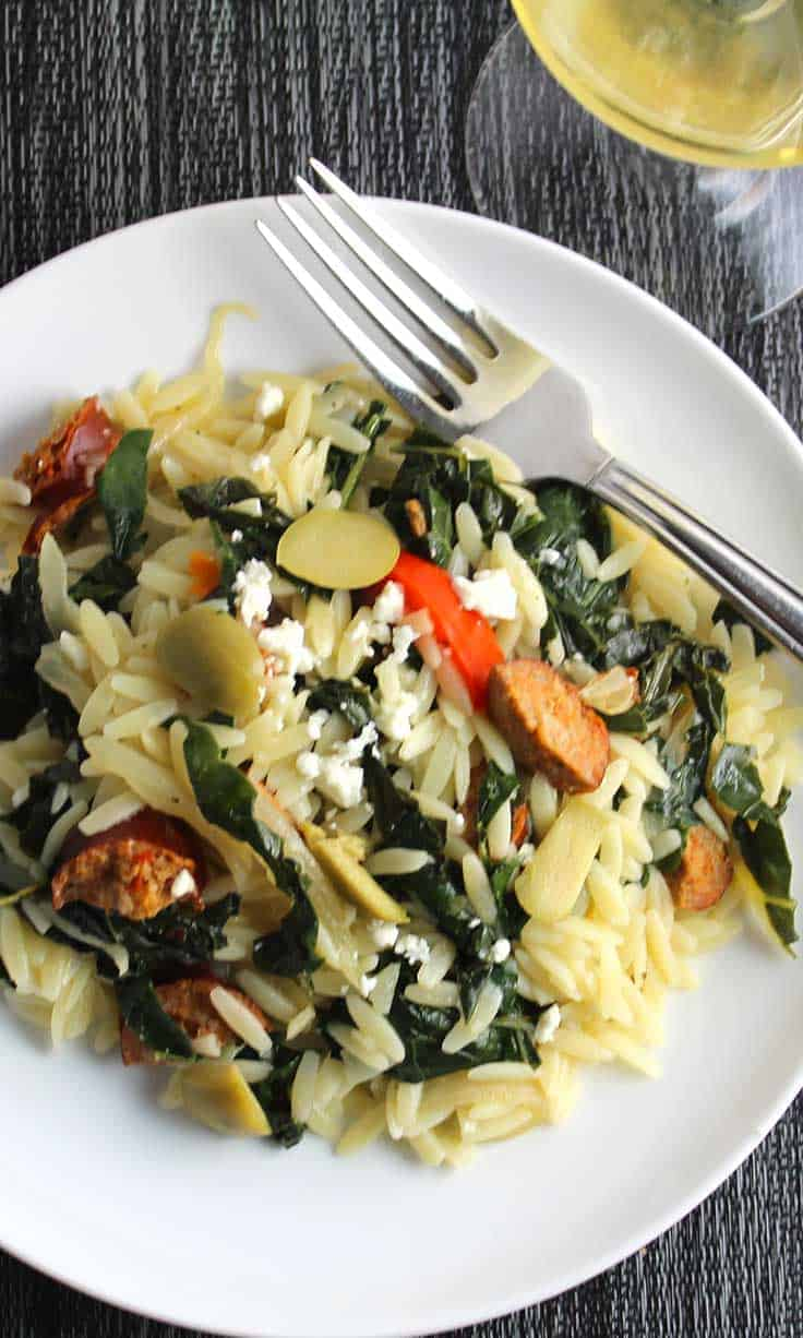 Orzo with Turkey Sausage and Kale is a healthy and flavorful pasta recipe.
