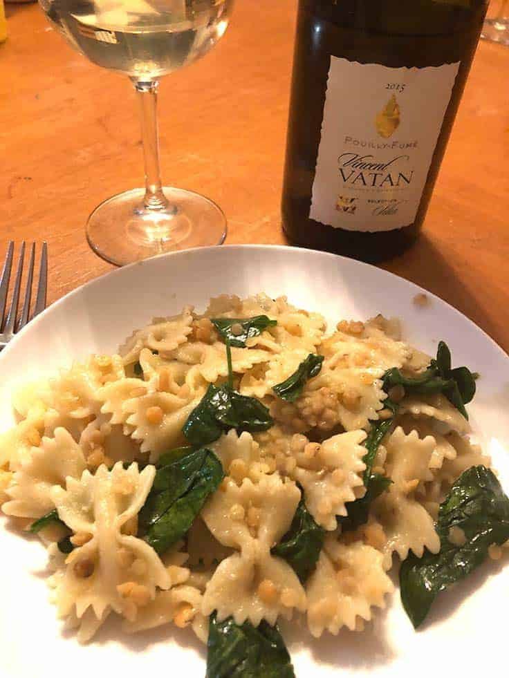 Vincent Vatan Pouilly-Fumé is a food-friendly white wine that pairs well pasta with red lentils and ginger. #winepairing #PouillyFume #wine