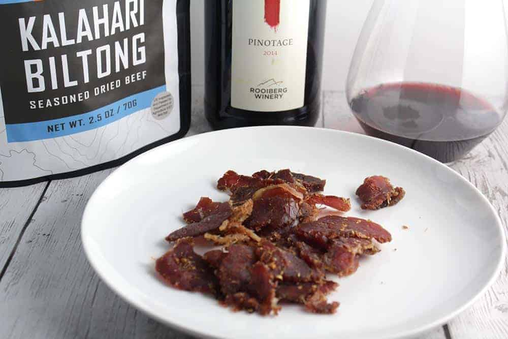 Biltong cured beef paired with Pinotage.