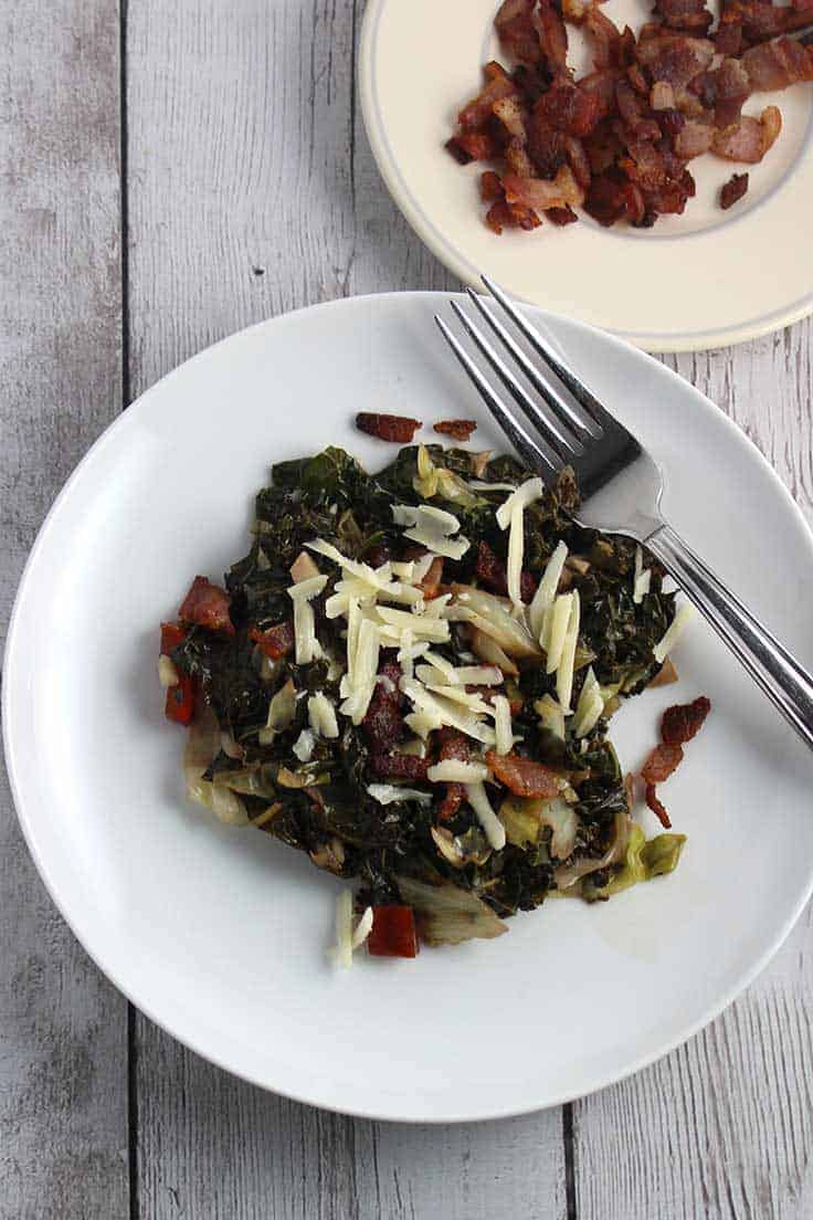 Greens with Gruyere and Bacon, a recipe sure to get your family eating their greens!