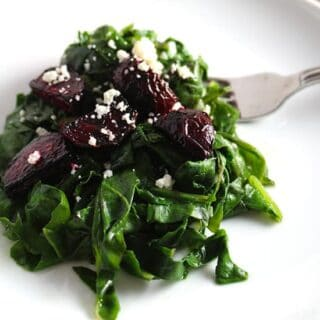 grilled beets with sautéed swiss chard.