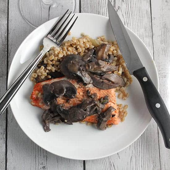 grilled salmon with mushroom sauce. #grilling