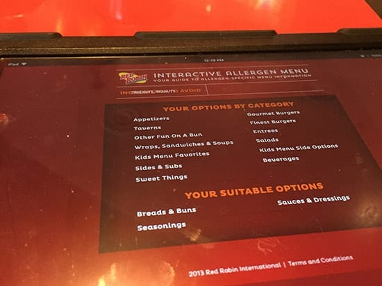 iPad showing safe choices at Red Robin helps make it an allergy friendly restaurant.