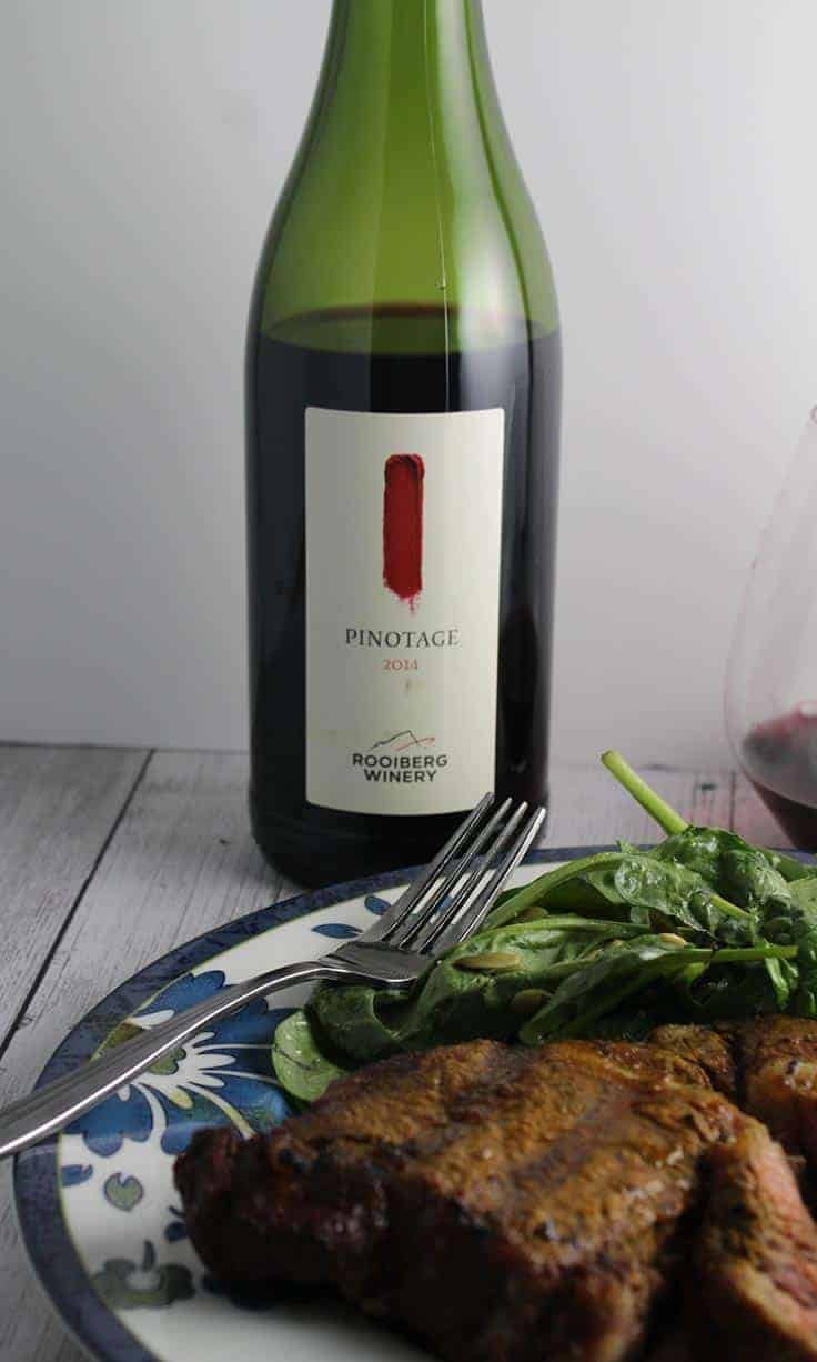 Rooiberg Pinotage is a very good wine value, and pairs well with Turmeric Spiced Steak.