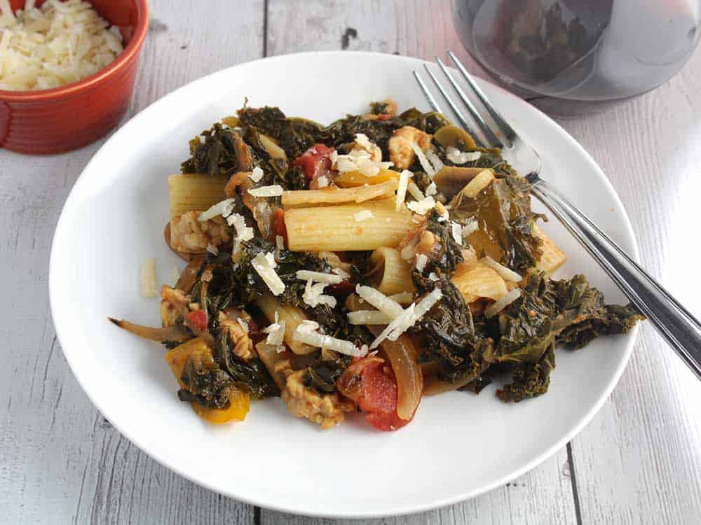 tempeh and kale pasta