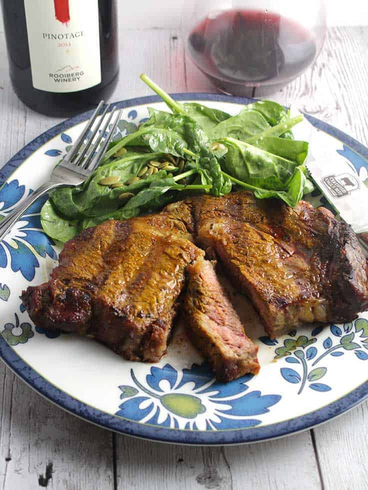 Turmeric Spiced Steak is a flavorful beef recipe, delicious paired with a South African Pinotage wine.