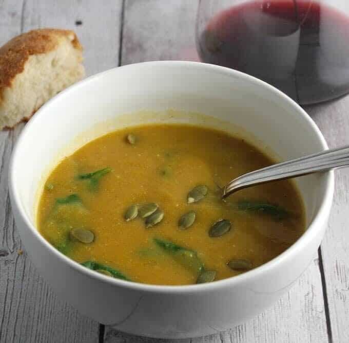 Creamy Butternut Squash Soup with Spinach