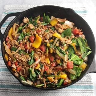 Greek Turkey Spinach Skillet #SundaySupper