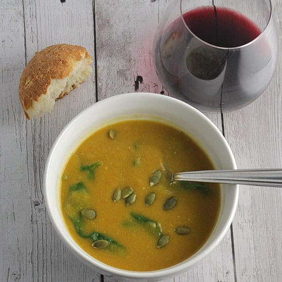 Vegan Creamy Butternut Soup with Spinach.