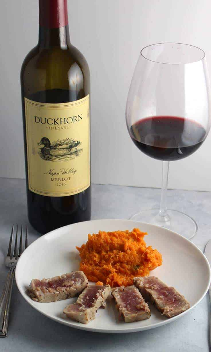 Duckhorn Merlot paired with Garlic Thyme Crusted Tuna