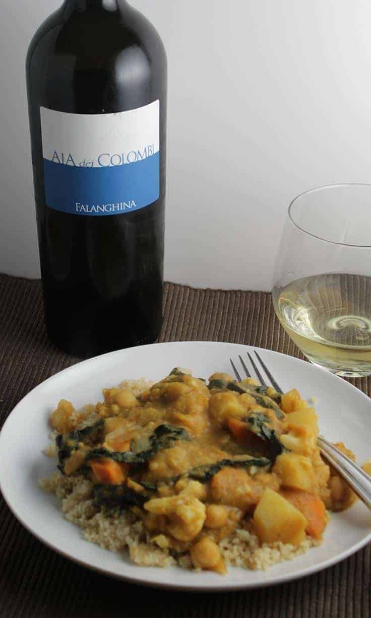 Aia dei Columbi Falanghina is a good, food friendly white wine. Pairs well with curry, as well as many other foods.