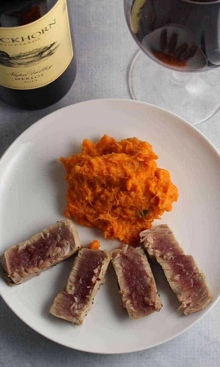 Garlic Thyme Crusted Tuna paired with a Merlot wine from Duckhorn, makes for a creative and healthy meal.
