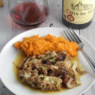 Pulled Pork with Cabbage and Bacon – French #Winophiles
