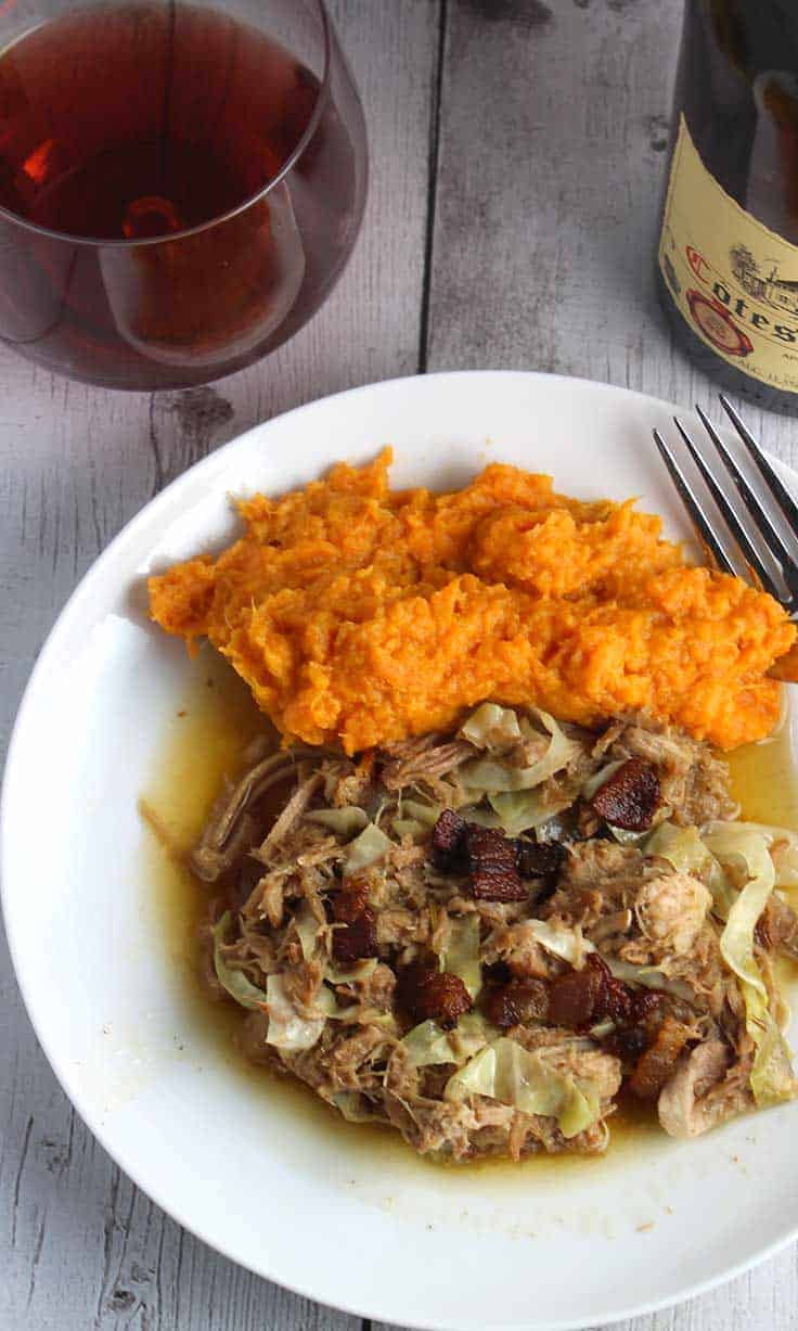 Slow cooker Pulled Pork with Cabbage and Bacon recipe, comfort food excellent paired with a French red wine.