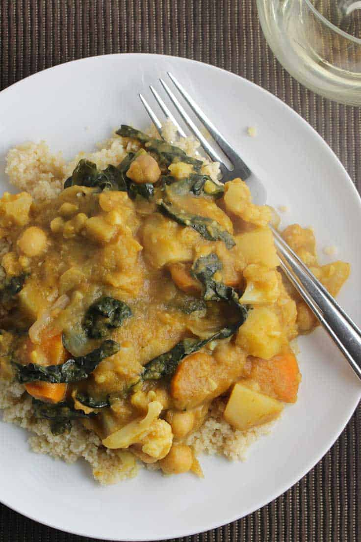 plate of pumpkin chickpea curry