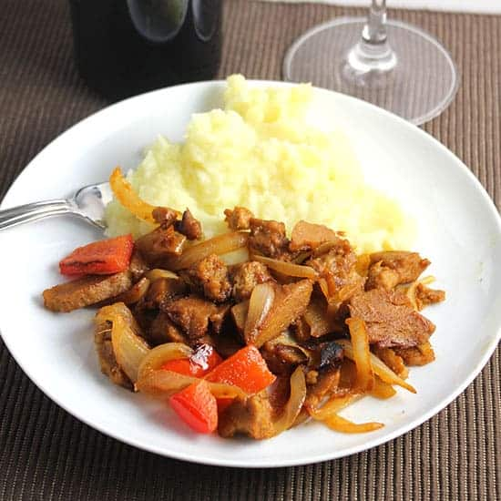 seitan skillet with onions and peppers