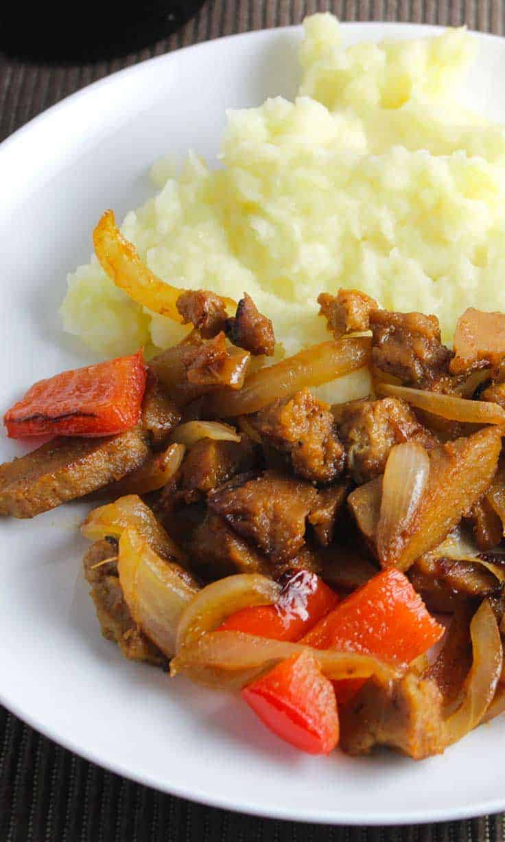 Seitan Skillet with Peppers and Onion is an easy and tasty vegan recipe.