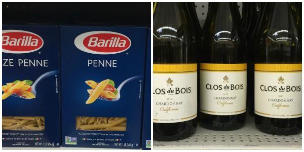 Barilla pasta alongside Clos du Bois Chardonnay