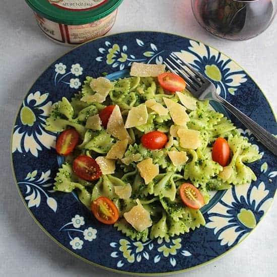 bow tie pasta with kale pesto and Stella asiago cheese.