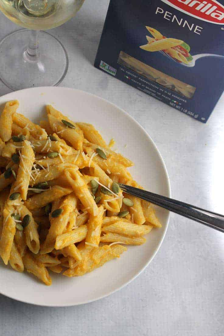 Creamy Pumpkin Penne recipe features roasted pumpkin and garlic pureed ...
