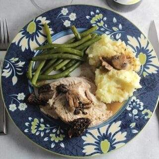 Roasted Turkey Breast with Morel Mushroom Sauce #winePW