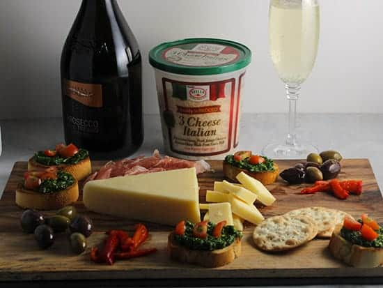 wine pairing for a holiday cheeseboard.