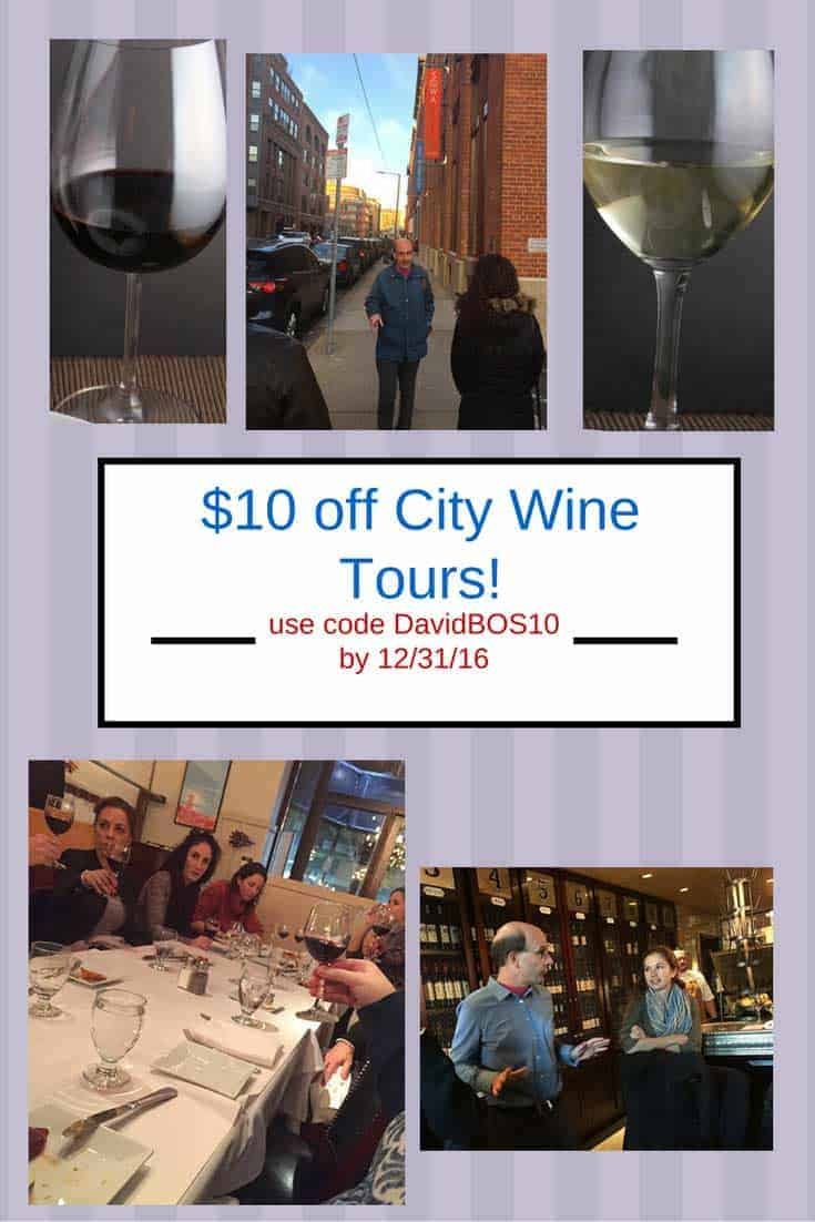 City Wine Tours of Boston and New York are lots of fun! Get $10 off when using special discount from Cooking Chat.