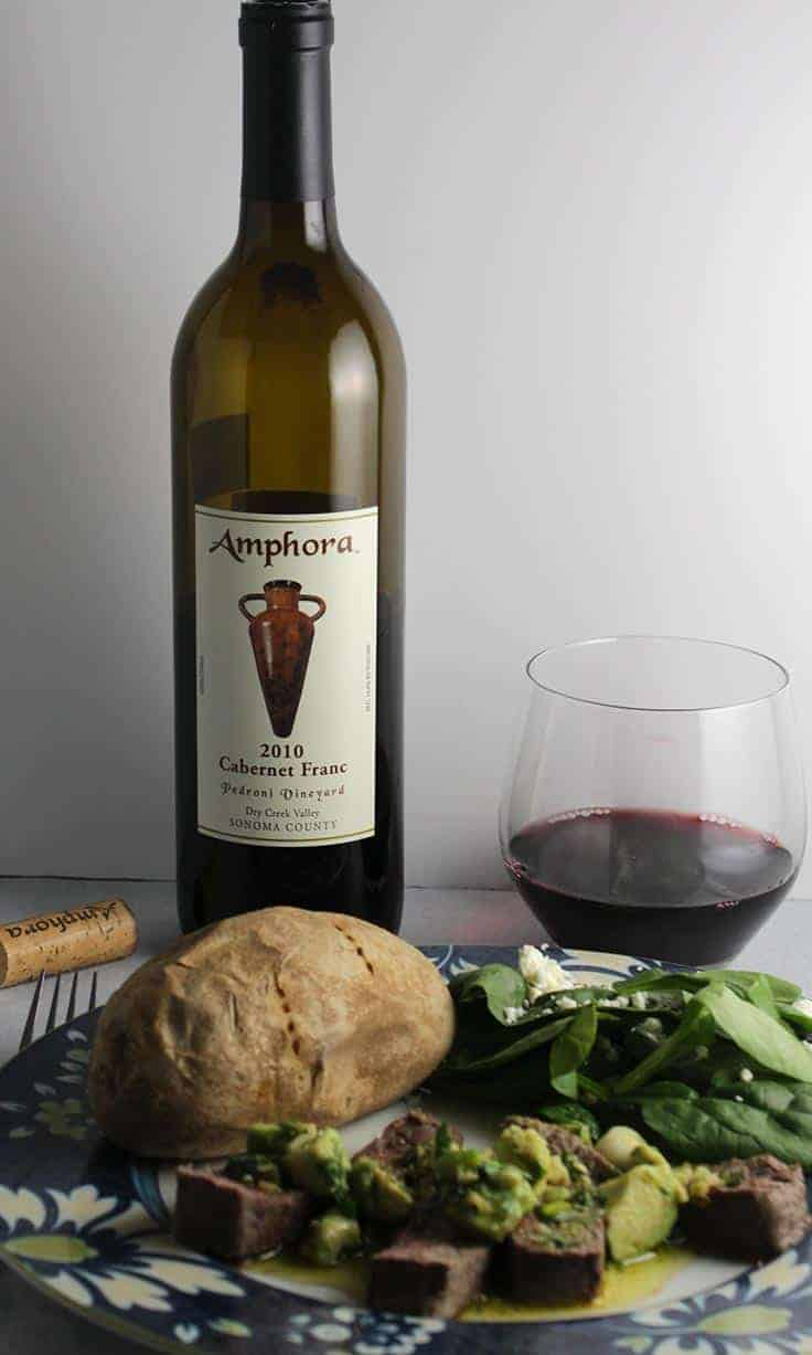 Amphora Cabernet Franc from Dry Creek, Sonoma County. Paired well with roasted sirloin.