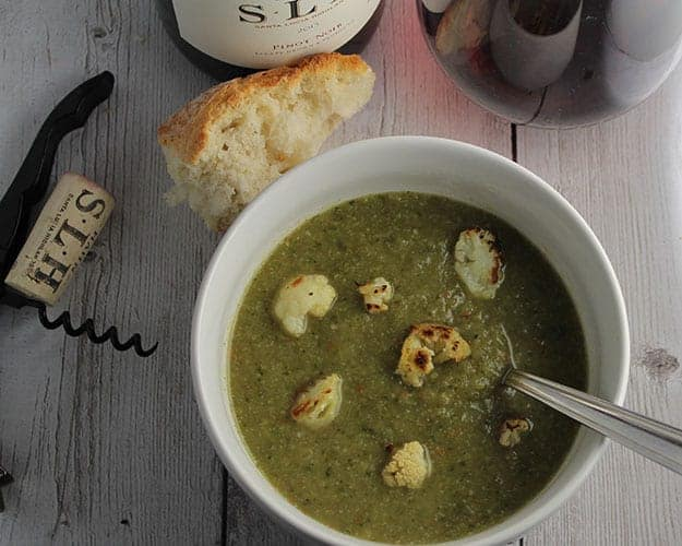 Roasted Cauliflower Kale Soup