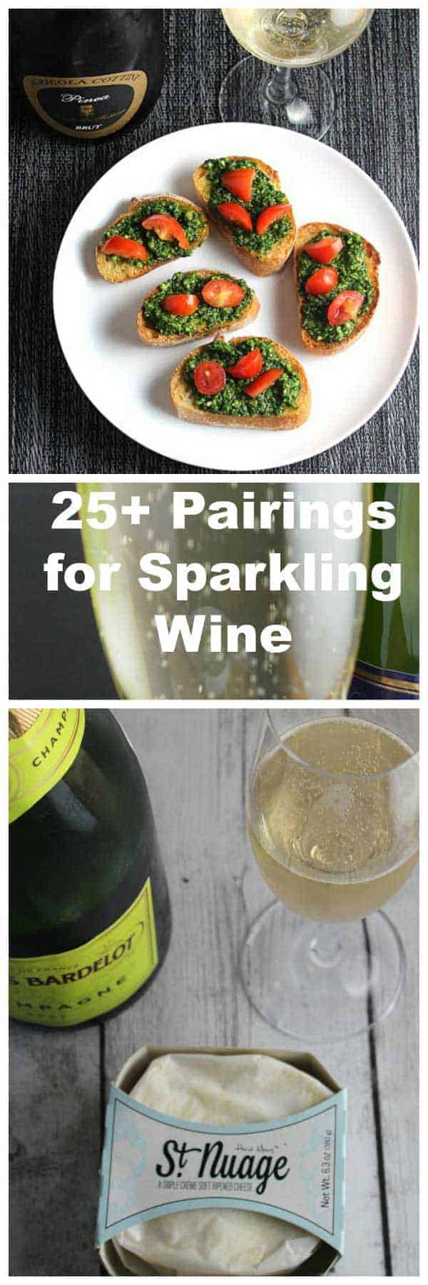 Over 25 food pairings to go with Champagne and other sparkling wine. #Champagne #NewYearsEve #SparklingWine