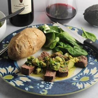 Roasted Sirloin Steak with Avocado Sauce for #CabFrancDay #winePW