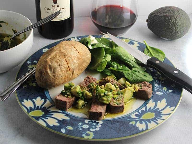 Roasted Sirloin Steak with Avocado Sauce