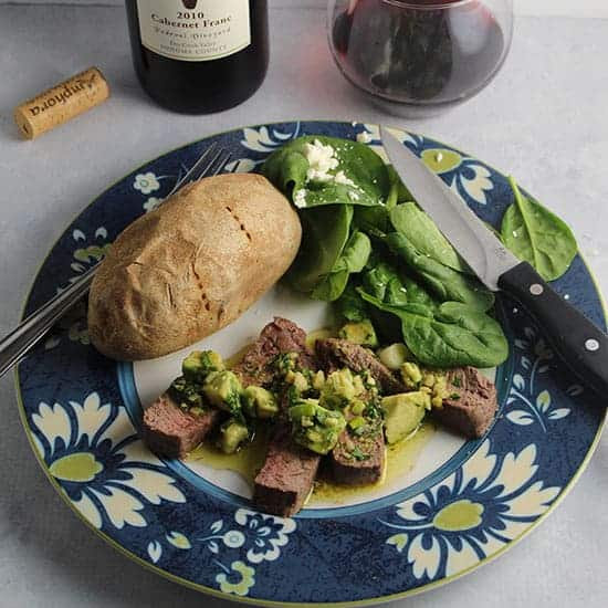 Roasted Sirloin with Avocado Sauce