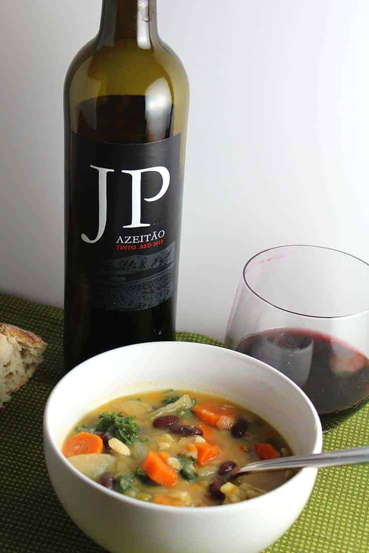 JP Azeitao Portuguese red wine is a great value and pairs well with kale soup.