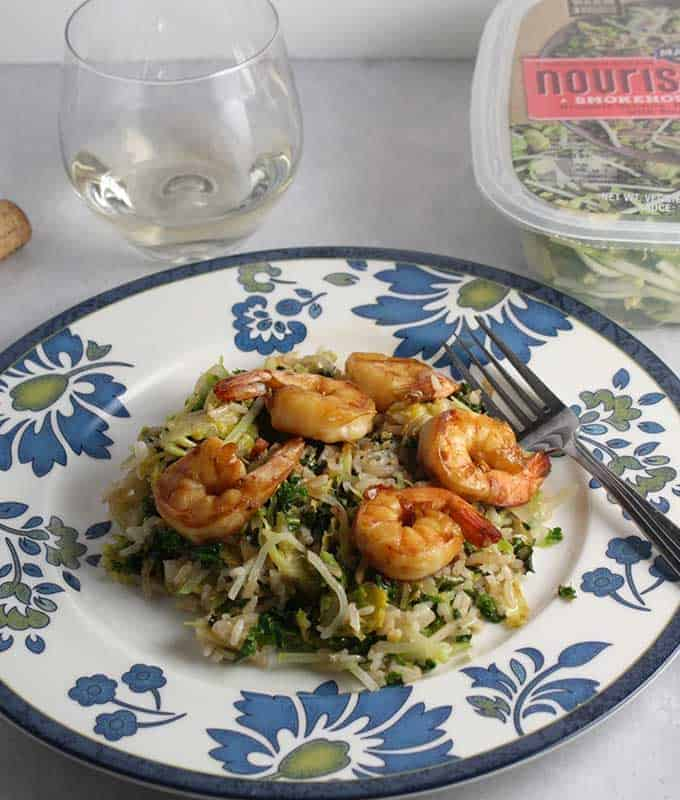 Brussels Sprouts with Shrimp along with wine pairing.