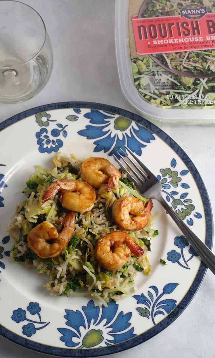 Smokehouse Brussels Sprouts with Shrimp, @veggiesmadeeasy by starting with Mann's Nourish Bowls! #SundaySupper #Nourish2Flourish