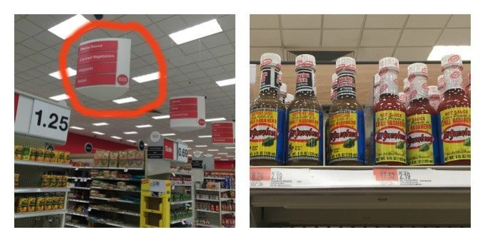 Shopping for El Yucateco® hot sauce at Target.