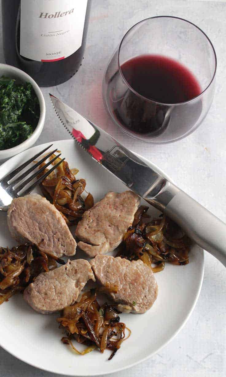 Pork tenderloin served with perfectly caramelized sweet onions makes an easy yet elegant dinner recipe.
