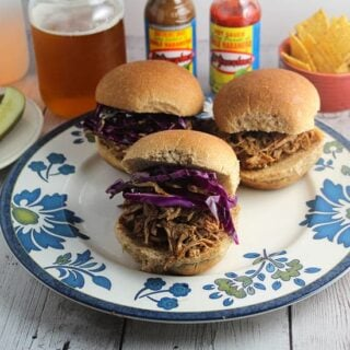 Spicy Pulled Pork Sliders served with an IPA style beer.