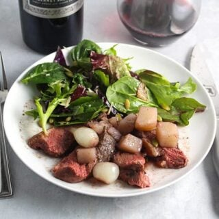 roasted duck breast with pearl onions