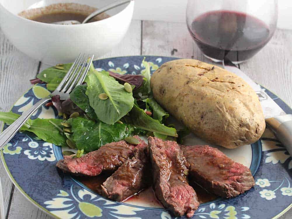 Roasted Garlic Sirloin Steak with Cabernet Sauvignon