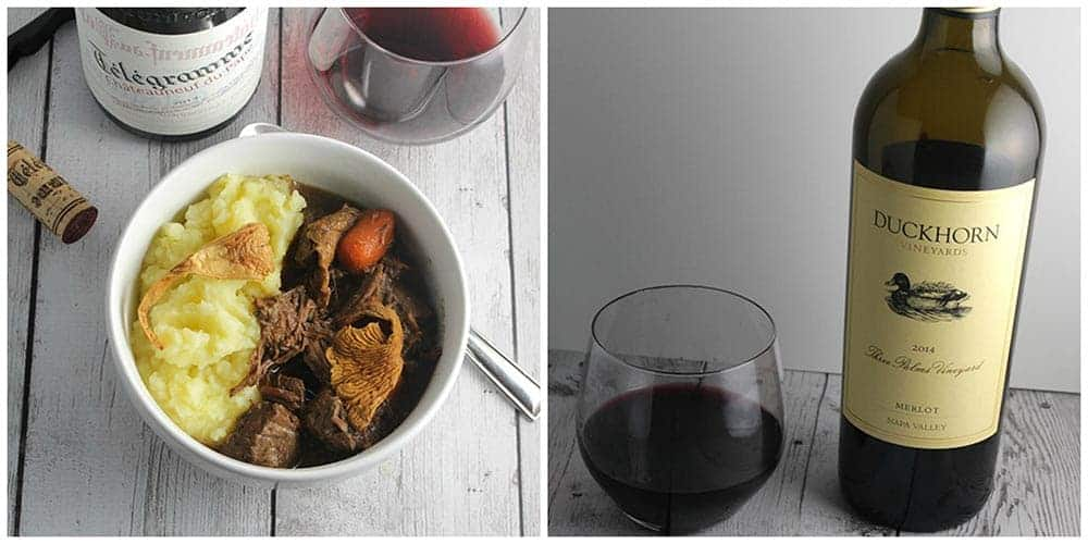 two images, one of the left has beef stew in bowl next to bottle of wine. image on right, bottle of Duckhorn Merlot wine.