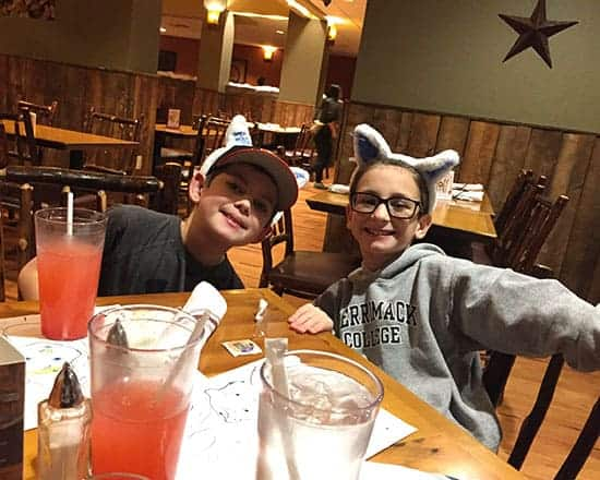 enjoying a meal at Great Wolf Lodge